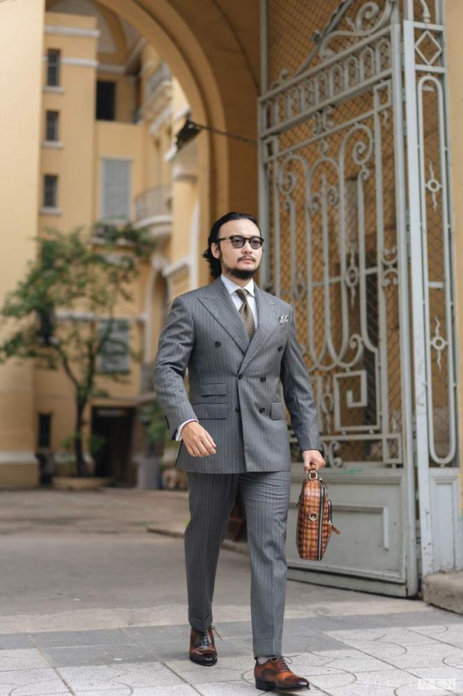 Phối suit 2 mảnh màu xám
